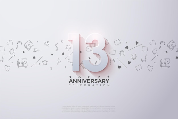 13e verjaardag met vervagende 3d-nummers.