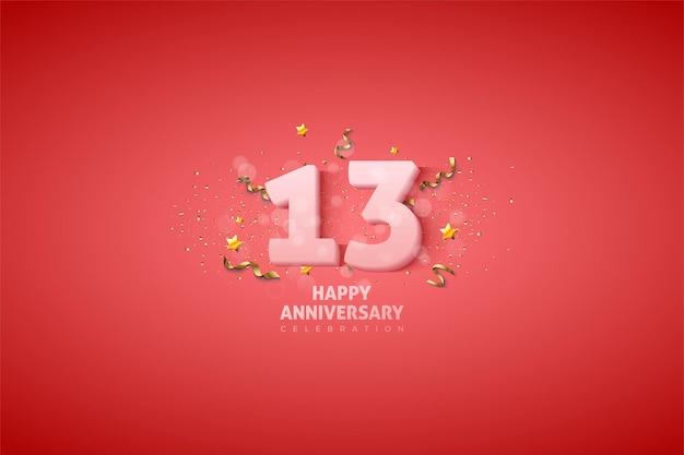 13e verjaardag met zachte witte nummerillustratie.