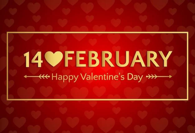 14 februari, de banner van de gelukkige valentijnskaart of groetkaart