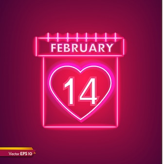 14 februari kalender in neon