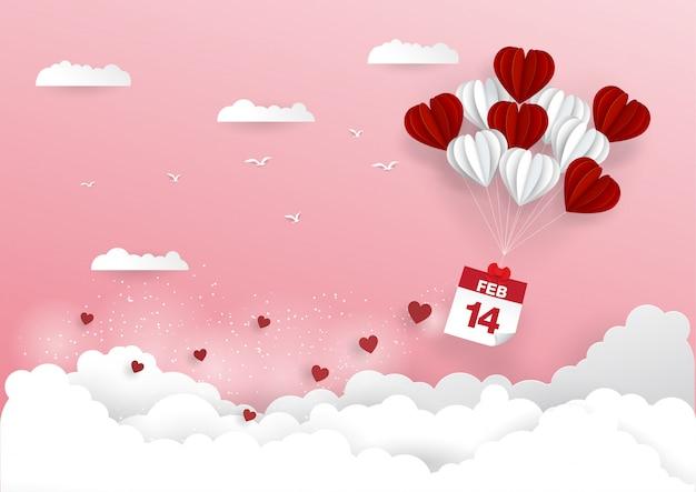 14 februari-kalender met hartballon