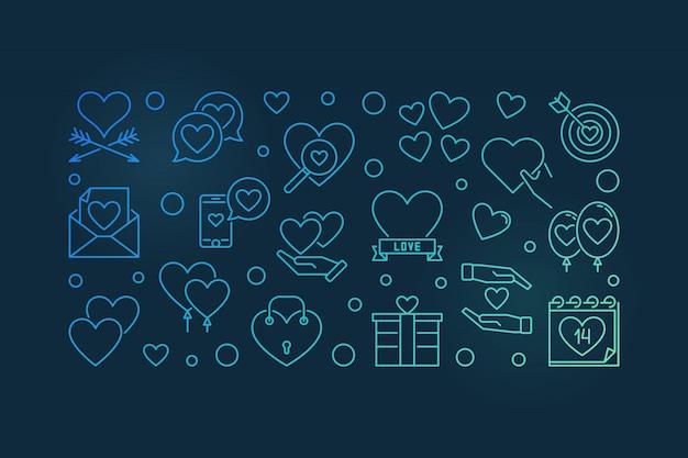 14 februari valentijnsdag vector lineaire kleurrijke banner