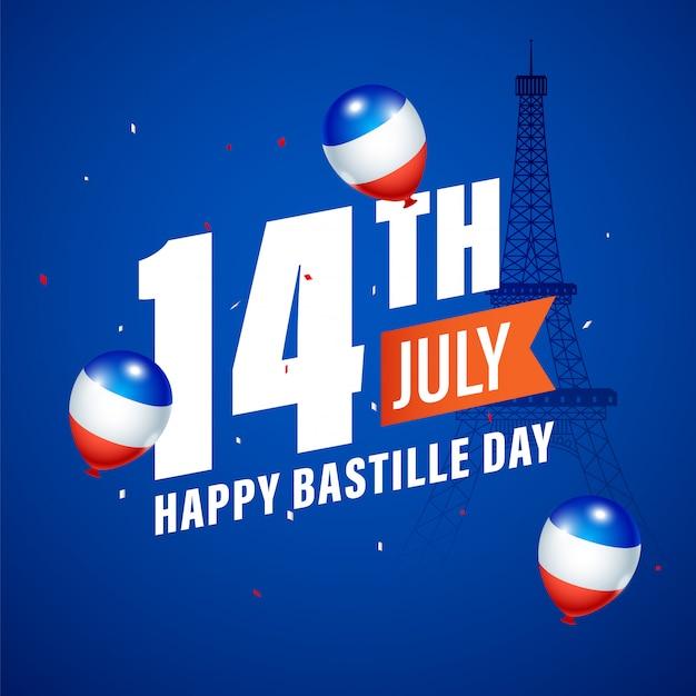 14 juli, happy bastille day tekst met frankrijk vlag kleur ballonnen en eiffeltoren monument op blauwe achtergrond.