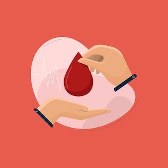 14 juni internationale wereld bloeddonordag bloed geven of doneren druppel bloed in de hand