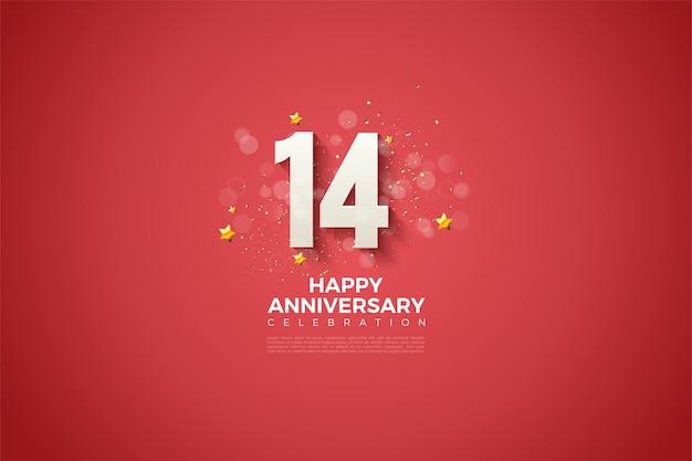 14e verjaardag met 3d-nummers en een kleine schaduw op rode achtergrond.