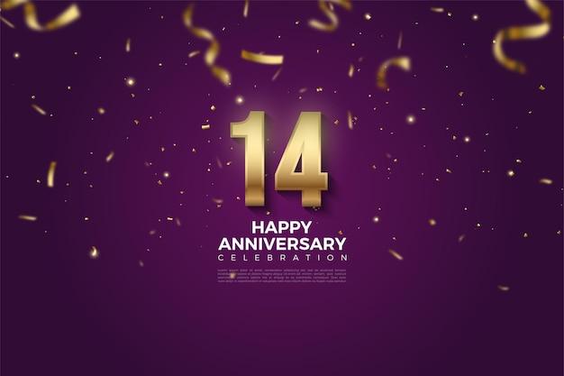 14e verjaardag met cijfers en gouden lint laten vallen.