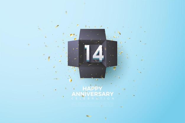 14e verjaardag met cijfers in een zwarte doos.