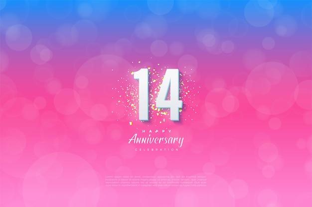 14e verjaardag met een gegradeerde achtergrond.