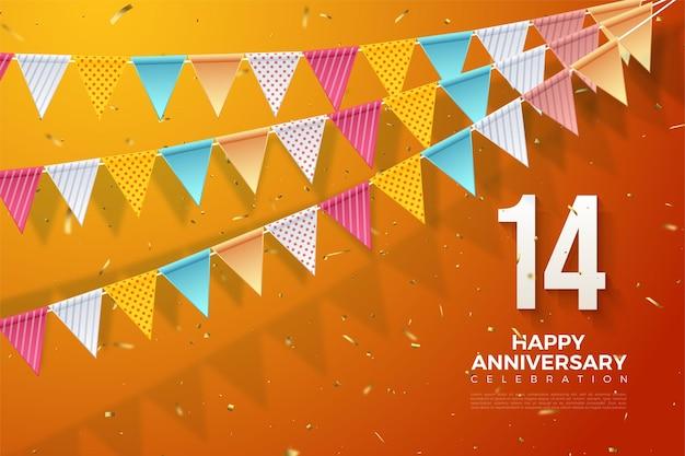 14e verjaardag met een nummer rechtsonder en een kleurrijke vlag.