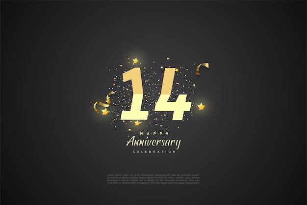 14e verjaardag met getallen.