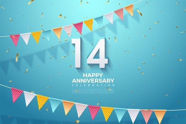 14e verjaardag met kleurrijke cijfers en vlaggen.