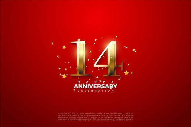 14e verjaardag met luxe gouden cijfers.