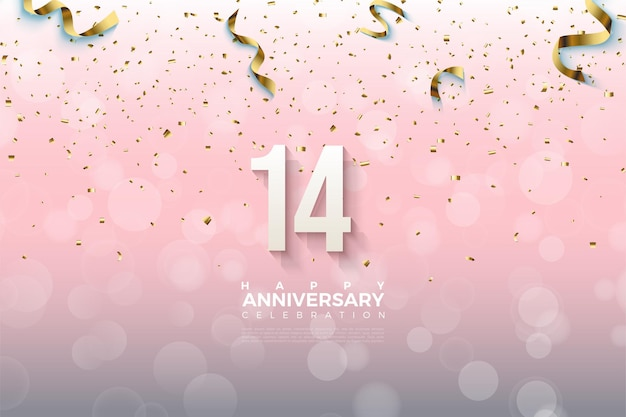 14e verjaardag met nummers bedekt met gouden linten.