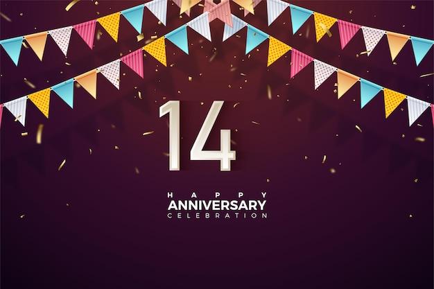 14e verjaardag met nummers onder kleurrijke vlaggen.