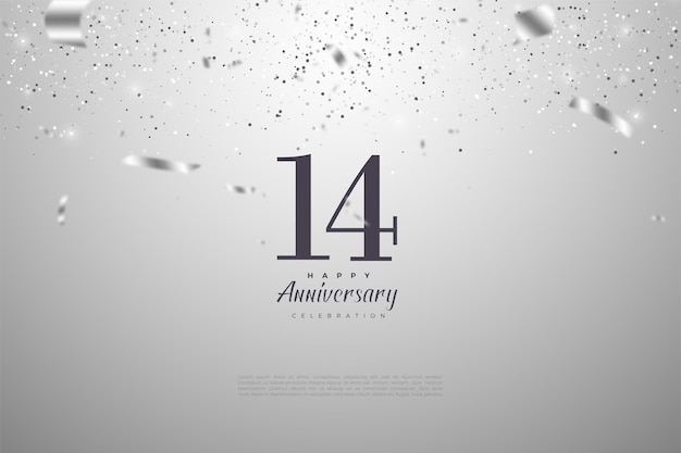 14e verjaardag met versierde zilveren cijfers en linten.