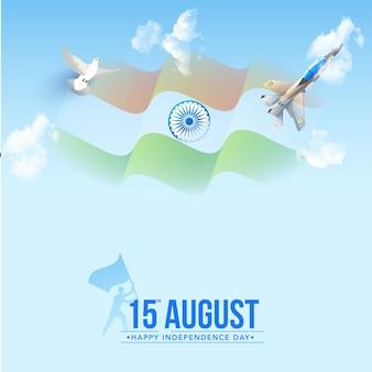 15 augustus happy independence day concept met golvende vlag van india, duif vliegen en straaljager
