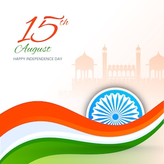 15 augustus independence day concept met driekleurige golf, ashoka wiel op silhouet red fort witte achtergrond.