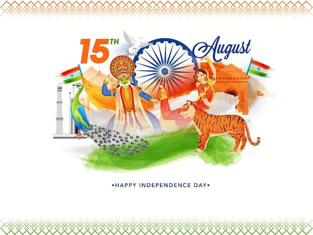 15 augustus viering concept met kathakali danser, peacock, tiger, india vlaggen, monumenten en driekleurig penseeleffect op witte achtergrond.