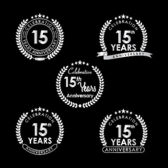 15 jaar jubileumviering label met lauwerkrans