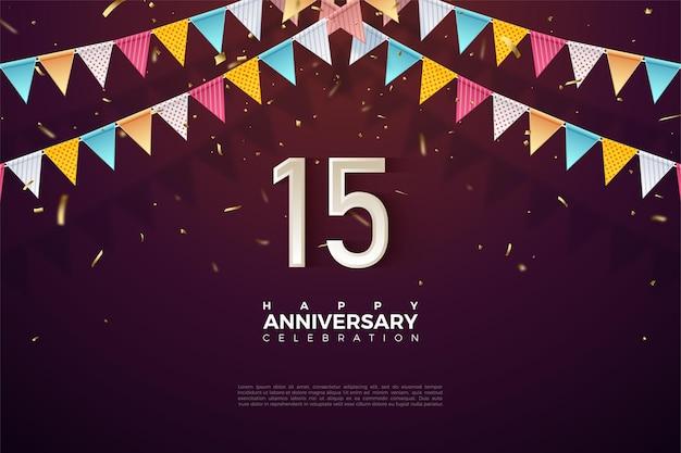15e verjaardag achtergrond met kleurrijke vlag illustratie en cijfers net eronder.