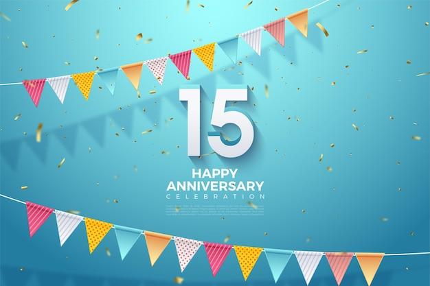 15e verjaardag achtergrond met kleurrijke vlaggen en reliëf 3d-nummers.