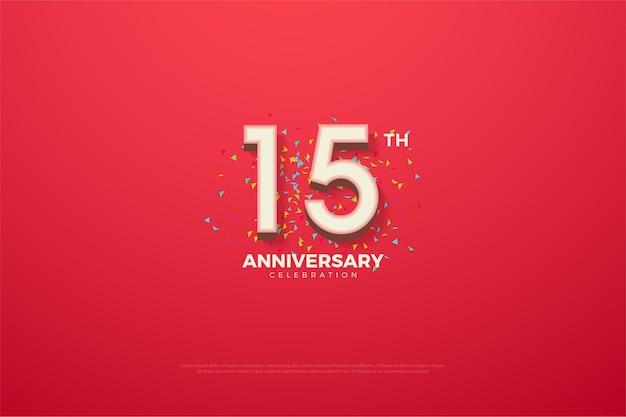15e verjaardag met driedimensionale cijfers op een felrode achtergrond