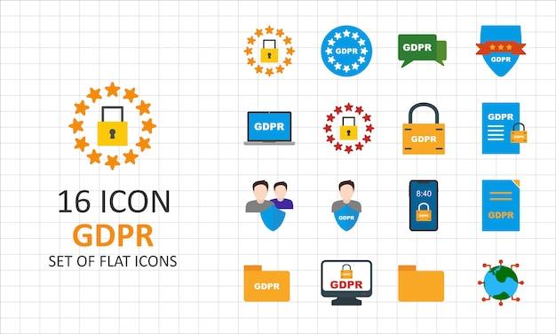 16 gdpr flat icon sheet pixel perfect icons