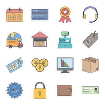 16 icon set van e-commerce voor persoonlijk en commercieel gebruik