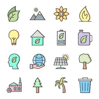 16 icon set van eco voor persoonlijk en commercieel gebruik