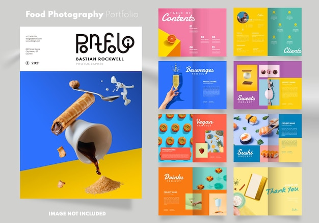 16 pagina's met kleurrijk portfolio-ontwerp voor voedselfotografie