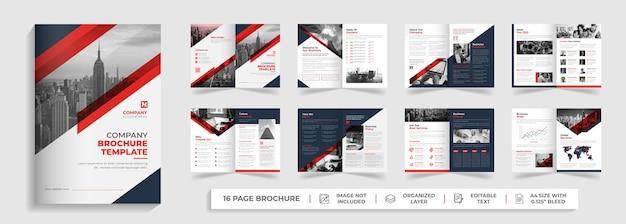16 pagina's zakelijke moderne meerbladige bi-fold brochure sjabloon jaarverslag ontwerp