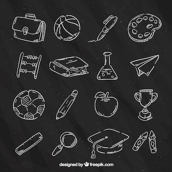 16 schoolelementen op schoolbord