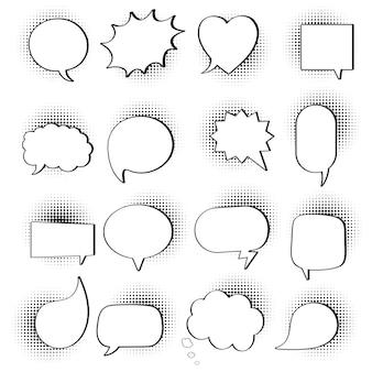 16 tekstballonnen platte stijl ontwerp ingesteld op halftoon