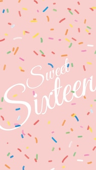 16e verjaardagswenssjabloon met confetti-achtergrond