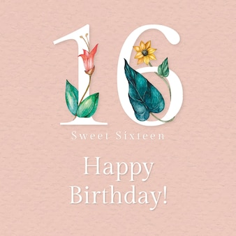 16e verjaardagswenssjabloon met illustratie van bloemennummer