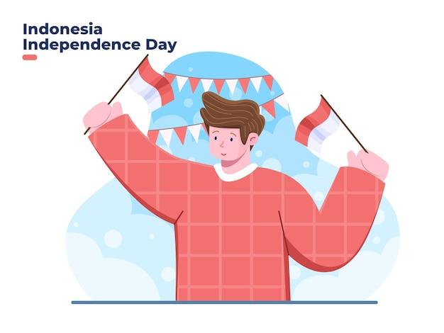 17 augustus gelukkige indonesië onafhankelijkheidsdag met jonge man karakter platte vectorillustratie