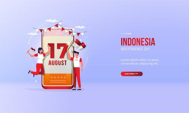17 augustus, illustratie van het vieren van de onafhankelijkheidsdag van indonesië voor begroetingsconcept