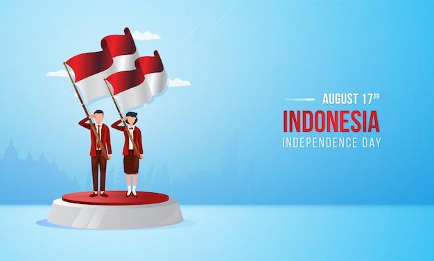 17 augustus, indonesische nationale feestdag met illustratie