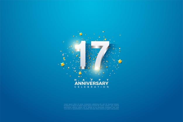 17e verjaardag achtergrond met 3d-dimensionale cijfers verguld in zilver