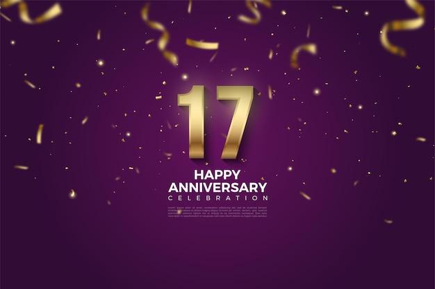 17e verjaardag achtergrond met gouden cijfers en linten vallen op een paarse achtergrond.