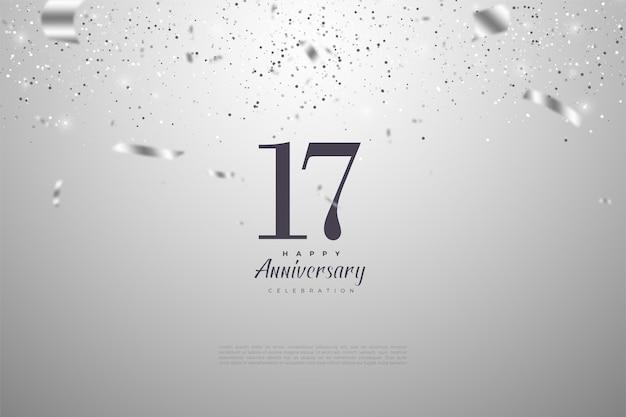 17e verjaardag achtergrond met vallende zilveren linten.