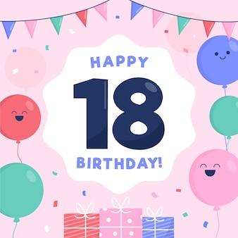 18e verjaardag achtergrondstijl