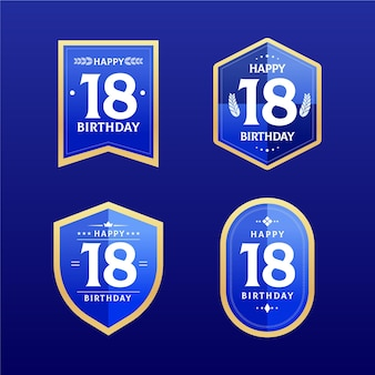 18e verjaardag badges collectie