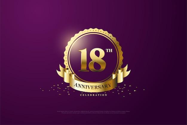 18e verjaardag met cijfers en symbolen van goud