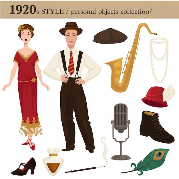 1920 mode-stijl man en vrouw persoonlijke objecten