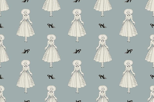 1920's fashion fashion patroon vector vrouwelijke achtergrond, remix van kunstwerken van george barbier