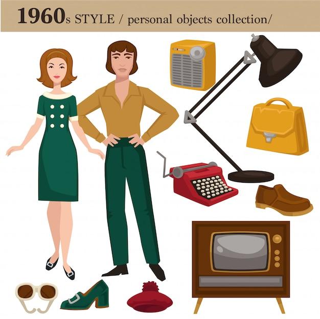1960 mode-stijl man en vrouw persoonlijke objecten