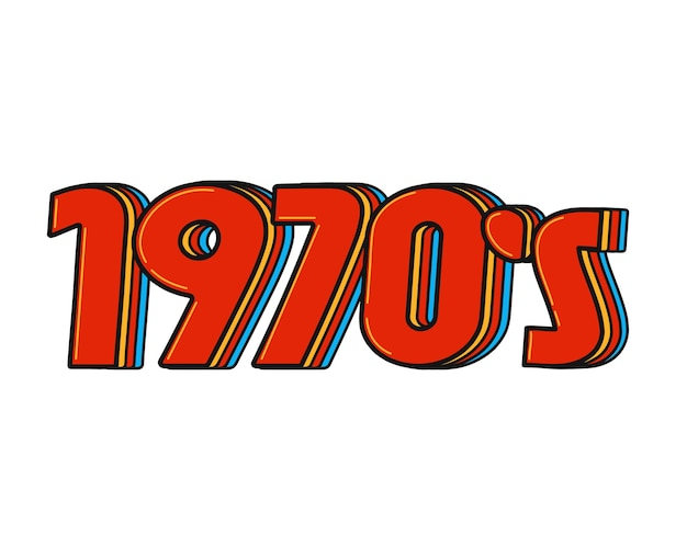 1970 vintage retro stijl teken nummer. vector doodle illustratie logo pictogram. geïsoleerd op een witte achtergrond. jaren 70, 70, 70, retro, vintage feestconcept