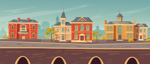 19e-eeuwse stadsstraat met europese gebouwen