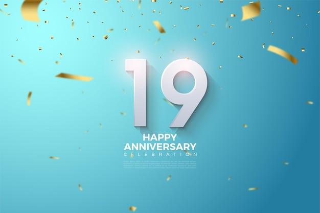 19e verjaardag met gearceerde en reliëf numerieke s. Premium Vector